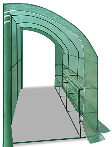 Strong Camel Outdoor Large Walk-in Wall Greenhouse Portable Waterproof Hot House 10x5x7'H w 3 Tiers/6 Shelves Gardening (Green(2 Door))