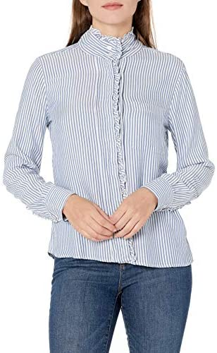 Amazon Brand – Goodthreads Women's Modal Twill Ruffle Button-Front Shirt