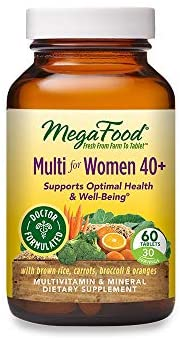 MegaFood, Multi for Women 40+, Supports Optimal Health and Wellbeing, Multivitamin and Mineral Dietary Supplement, Gluten Free, Vegetarian, 60 Tablets