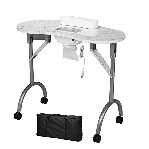 Zebery Manicure Nail Table, Portable Folding Station Desk Movable Manicure Tech Table for Home Spa Beauty Salon