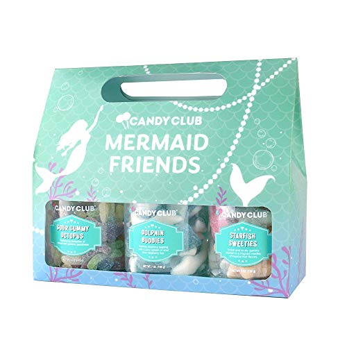 Candy Club, Mermaid Friends Collection, Candies and Gummies Gift Pack – Dolphin Buddies, Sour Gummy Octopus, and Starfish Sweeties