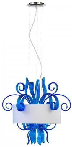 Cyan Design 04395 The Jellyfish Collection 3-Light Pendant, Blue Murano Style Glass with White Shade and Silver Liner