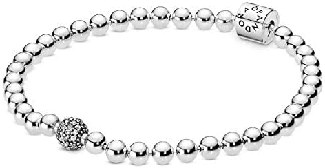 Pandora Jewelry Beads and Pave Cubic Zirconia Bracelet in Sterling Silver