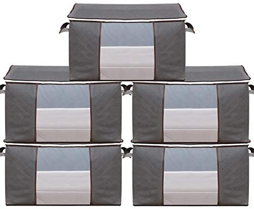 Large Storage Bags, Clothes Storage Bins Foldable Closet Organizers Storage Containers with Durable Handles Thick Fabric for Blanket Comforter Clothing Bedding (Gray, Large-5 Pack)