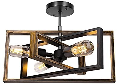 Rustic Semi Flush Mount Ceiling Light, Farmhouse Vintage Ceiling Light Fixture 3-Light Retro Industrial Lighting for Bedroom Living Room Kitchen Island Hallway , Black/Bronze, E26 Base