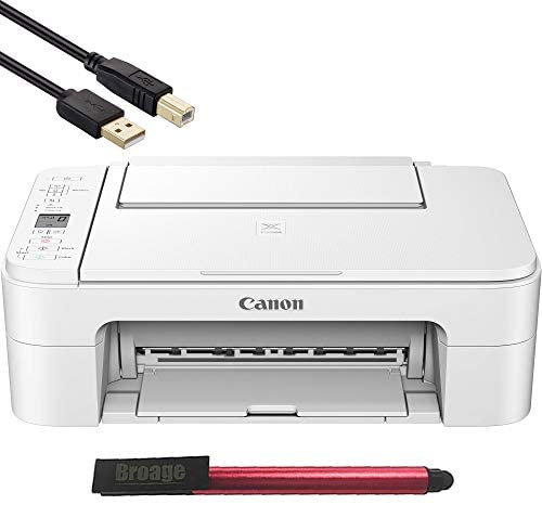 Canon PIXMA TS Series White Wireless All-in-One Inkjet Printer – 3 in 1 Print, Scan and Copy – up to 4800 x 1200 Resolution, 1.5 Segment LCD Display – BROAGE 64GB Flash Drive + 4FT Printer Cable