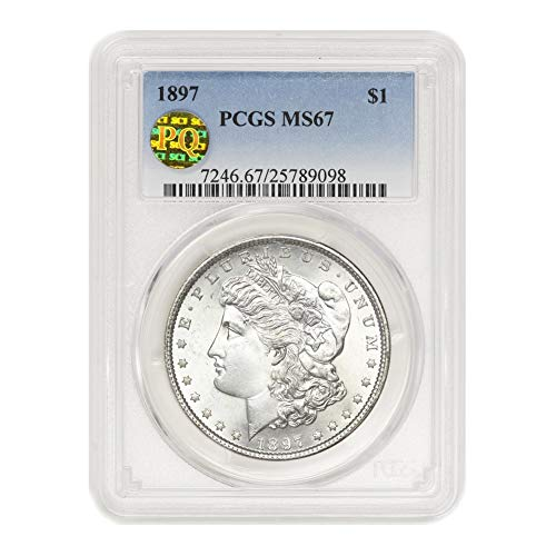 1897 American Silver Morgan Dollar MS-67 PQ Approved by CoinFolio $1 MS67 PCGS