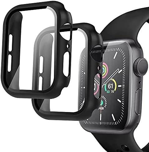 Arae Compatible for Apple Watch Series 6 5 4 SE 44mm Cases Full all around and overall Protection with Tempered Glass Screen Protector for Men Women-2 Packs Black