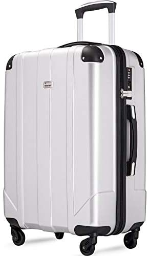 Merax Hardside Spinner Luggage with Built-in TSA and Reinforced Corners, Eco-friendly P.E.T Light Weight Carry-On 20″ 24″ 28″ Suitcases (28-inch, Silver)