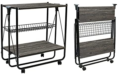 QEEIG Folding Bar Cart Farmhouse Rolling Kitchen Serving Island Carts with Wheels Dinning Islands Foldable Storage Baker Rack, Charcoal Grey (SC835-083GY)