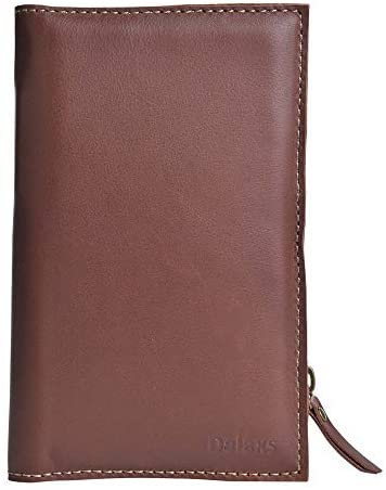 Travel Passport Wallet – Genuine Leather Passport Airline Ticket Holder ID Card Wallet with Magnetic Button Closure Multi-use for Men and Women (Brown)