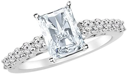 3.75 Ctw 14K White Gold Graduating Classic Radiant Cut GIA Certified Diamond Engagement Ring (3 Ct H Color SI2 Clarity Center Stone)