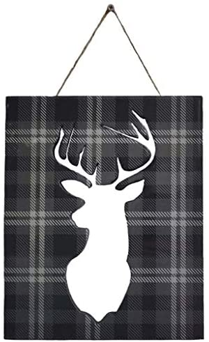 Wooden Deer Head Wall Decor – Stag Head Decor – Decorative Tartan Pattern – Home Decor Wall Art – for Home or Office Wall Hanging in The Living Room, Kitchen, Bathroom or Bedroom.