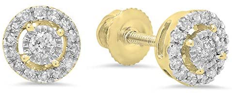 Dazzlingrock Collection 0.20 Carat (ctw) 14K Gold Round White Diamond Ladies Cluster Style Stud Earrings 1/5 CT