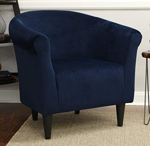Stylish Versatile Microfiber Bucket Accent Padded Chair with 100% Polyester Pillow, Microfiber, 18″ Blue