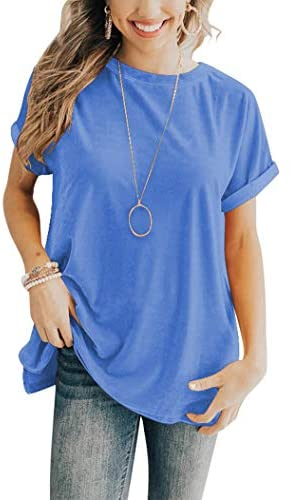 Hilltichu Women's Casual Short Sleeve T-Shirts Basic Tees Round Neck Tops