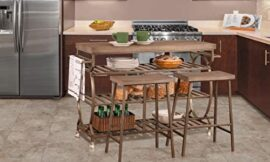 Hillsdale Furniture Paddock 3 Piece Kennon Kitchen Cart Set with 2 Stools, Metal/Distressed Brown Gray Finished Top