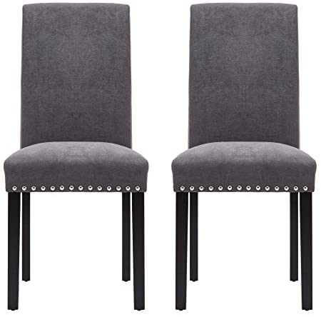NOBPEINT Dining Chair Upholstered Fabric Dining Chairs with Copper Nails,Set of 2,Grey