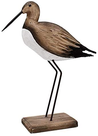 Wooden Sea Bird Statue Seagull On Stand Decor Nautical Coastal Birds Sculpture Indoor Outdoor Animal Figurine Beach Themed Decoration Rustic Home Art for Bedroom Garden (11.5″)