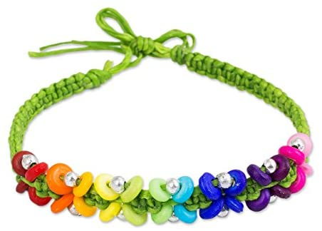 NOVICA Brass Plastic Beaded Bracelet 'Green Rainbow'