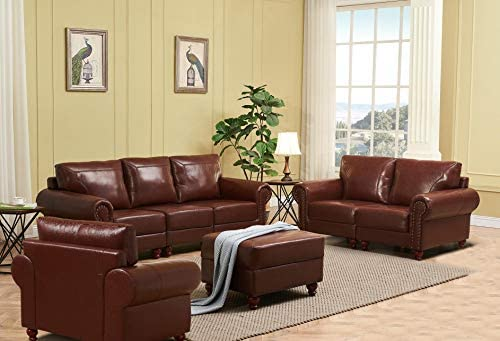 Y&S Victory Sofa Set for Living Room with Genuine Leather Solid Wood Frame Home Furniture Retro Style
