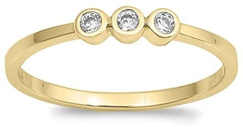 CLOSEOUT WAREHOUSE Three Bezel Set Small Cubic Zirconia Stones Ring Yellow Gold-Tone Plated Sterling Silver