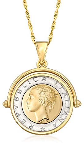 Ross-Simons Genuine Lira Coin Necklace in 18kt Gold Over Sterling From Italy