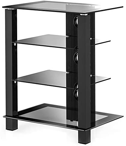 FITUEYES 4-Tier AV Media Stand Component Cabinet and Hi-Fi Stereo Rack Audio Tower with Height Adjustable Tempered Glass Shelves, AS406003GB