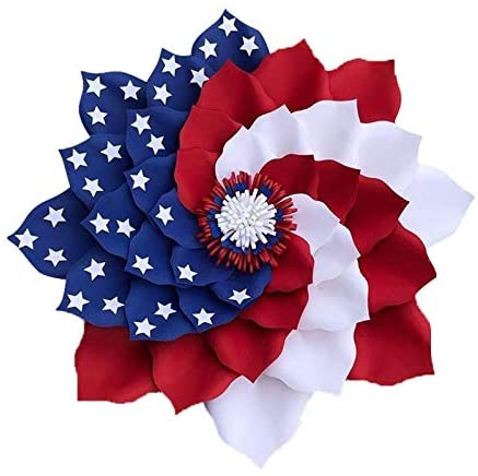 Patriotic Wreath – Spring Wreaths for Front Door Outside, 4th of July Wreath Decorations, Independence Day Wreath, American Flag Wreath for Veterans Day Memorial Day Home Decor Porch Decoration(T)