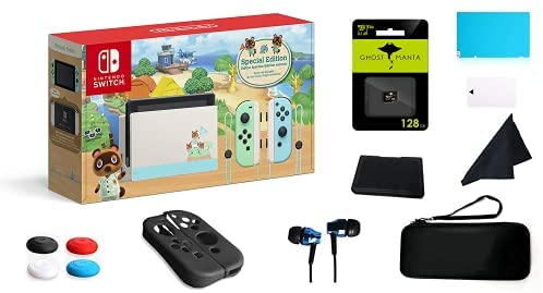 Nintendo Switch Pastel Green and Blue Joy-Con Console – Animal Crossing: New Horizons Edition, 6.2″ Touchscreen Display, W/GM 128GB SD Card + 13 in 1 Super Kit Case