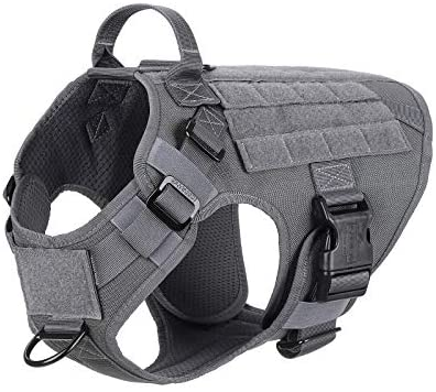 ICEFANG Lightweighting Tactical Dog Harness with Handle,Working Dog Training Molle Vest,No-Pull Front Leash Clip, Hook and Loop Panel for Dog ID Personalized Patch