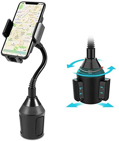 WongPing Car Cup Holder Phone Mount,Easy Clamp Hands-Free Cup Phone Holder, Universal Gooseneck Cup Holder Cradle Car Mount for Cell Phone iPhone Xs/XS Max/X/8/7 Plus/Galaxy, MP3, GPS and More