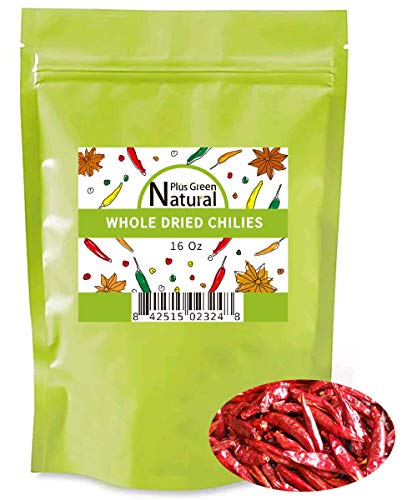 Dried Sichuan Chili Peppers Whole 16 Ounces, Mild, Used in Mexican, Chinese, Thai Dishes, Premium Szechuan Dried Red Chilies for Chili Oil, Paste, and Sauce