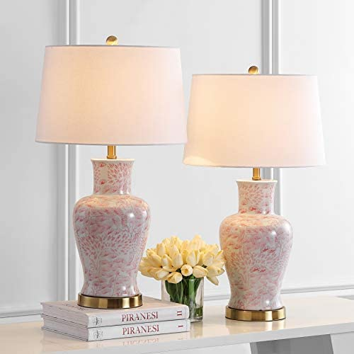 Safavieh TBL4161A-SET2 Lighting Calli Pink and White 28-inch (Set of 2) -LED Bulbs Included Table Lamp