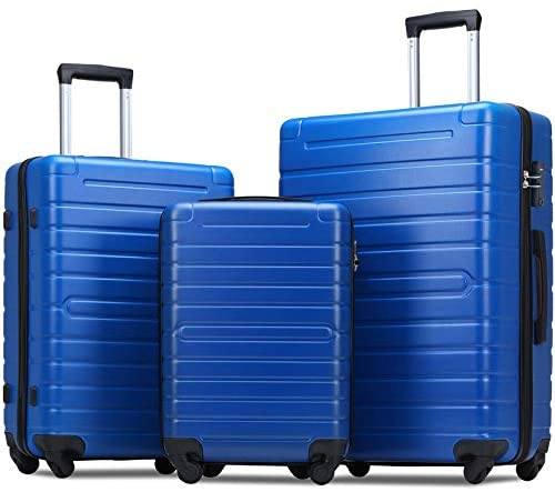 Flieks Luggage Sets 3 Piece Spinner Suitcase with TSA Lock Lightweight 20 24 28 inch (Elegant Blue)
