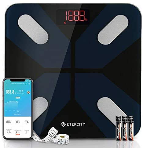 Etekcity Smart Digital Bathroom Scales for Body Weight and Fat, Wellness Bluetooth Health Monitor with SmartApps, Wide Platform, 13 Data, 11.8 x 11.8 Inches, Black
