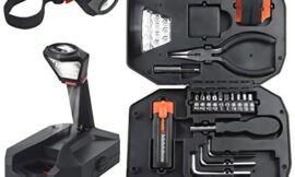 Household Tool Kit 24 Pieces Basic Tool Set in Storage Case with Bright LED Repair Tool Set with Essential Hand Tools Screwdriver Bit Set Work Light Handyman