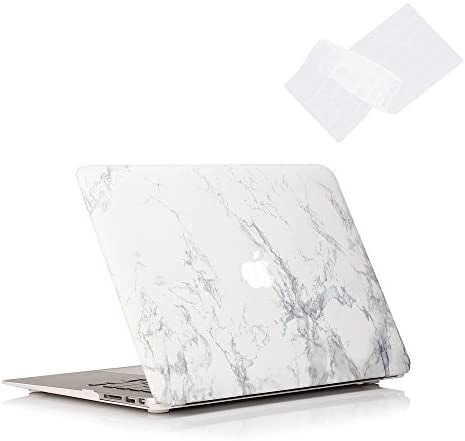 RUBAN Case Compatible with MacBook Air 13 Inch (Models: A1369 & A1466, Older Version 2010-2017 Release), Slim Snap On Hard Shell Protective Cover and Keyboard Cover, White Marble