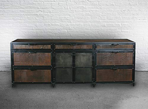 Industrial Reclaimed Wood and Steel File Cabinet. Lateral Filing Storage. Custom Handmade Hutch/Buffet/Credenza. Rustic Office Furniture. Urban Storage. Home Office Cabinet with Shelves.
