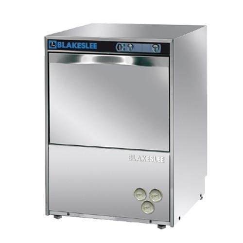 Blakeslee UC-18 Stainless Steel Commercial Restaurant Undercounter High Temperature Glass Washer and Dishwasher with Detergent Rinse-Aid Drain Pumps 185 Degree Final Rinse, 30 Racks Per Hour, Silver