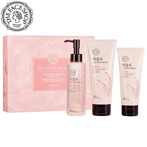 THE FACE SHOP Rice Water Bright Set – Cleanser 150ml + Light Cleansing Oil 150ml + Foam 100ml