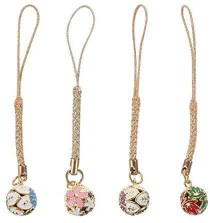 Hemobllo Cell Phone Strap – 4 Pcs Mobile Phone Charms Strap Cell Phone Charms Bells Christmas Jingle Bells Hanging Bell Phone Charm Accessories for Backpack Smart Phone Camera Purse (Random Style)
