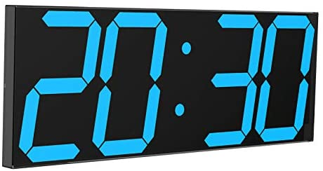 """CHKOSDA Digital LED Wall Clock, Oversize Wall Clock with 6"""" Numbers, Remote Control Count up/Countdown Timer Clock, Auto Dimmer, Big Calendar and Thermometer(Ice Blue)"""