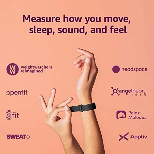 Amazon Halo wellness band and membership | Measure how you move, sleep, and sound – Black + Onyx – Large