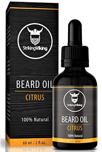 Striking Viking Beard Oil Conditioner – Natural Organic Formula with Tea Tree, Argan and Jojoba Oils with Orange Citrus Scent – Mens Beard Oil Promotes Growth, Softens, and Hydrates