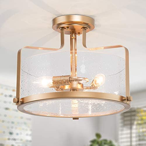 Optimant Lighting Gold Semi Flush Mount Ceiling Light, Modern Drum Close to Ceiling Light Fixtures with 3 Light for Hallway, Bedroom, Living Room, Kitchen and Foyer Dining Room