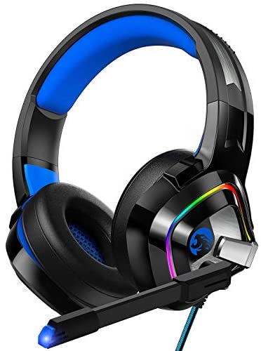 ZIUMIER Gaming Headset PS4 Headset, Xbox One Headset with Noise Canceling Mic and RGB Light, PC Headset with Stereo Surround Sound, Over-Ear Headphones for PC, PS4, PS5, Xbox One, Laptop