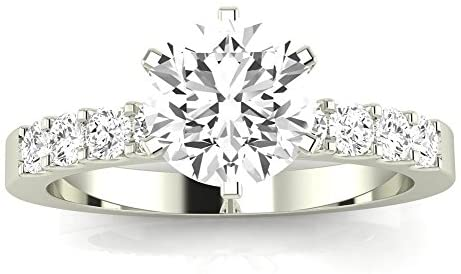 2.5 Carat 14K White Gold Classic Prong Set Round GIA Certified Round Cut Diamond Engagement Ring (2 Ct E Color VS2 Clarity Center Stone)
