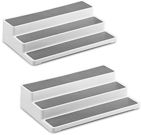 2 Pack Non Skid 3 Tier Spice Rack Organizer for Cabinet, 14.5 Inch Modern Pantry Kitchen Countertop Stand 3 Step Shelf White / Gray