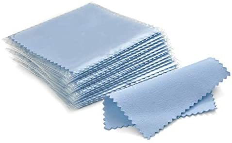 SEVENWELL 50pcs Jewelry Cleaning Cloth Blue Polishing Cloth for Sterling Silver Gold Platinum Small Polish Cloth 8x8cm